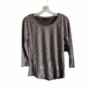 Lucky Brand Floral Paisley Knit Long Sleeve Top S